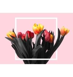 Bouquet color beautiful tulips vector image