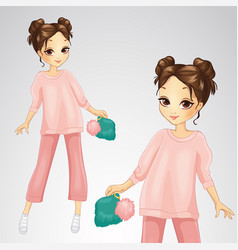 Brunette girl in pink suit vector