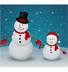 Christmas Greeting Card with snowman family vector image vector image