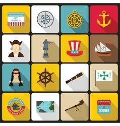Columbus Day icons set flat style vector image vector image