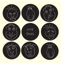 Cute faces abstract avatar set funny humor vector