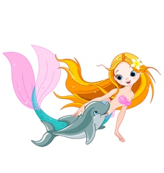Cute Mermaid and dolphin vector image vector image