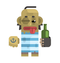 Drunk alcoholic with shiner and a bottle vector