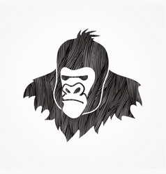 Gorilla head king kong face angry big monkey vector