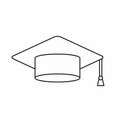 Graduation cap icon outline style vector image vector image
