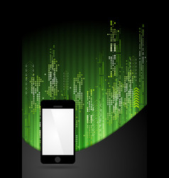 Green tech abstract background with smartphone vector