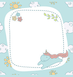 Greeting card with cartoon unicorn greeting card vector
