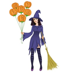 Halloween witch standing with pumpkins and a broom vector image vector image