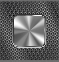 metal square button on perforated background vector image vector image
