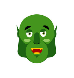 Ogre happy emoji goblin merry emotion isolated vector