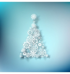 Paper christmass tree on blue EPS 10 vector image