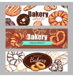 Sketch bakery banner set vector