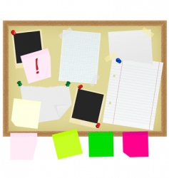 Stationery on noticeboard vector