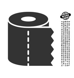 Toilet paper roll icon with work bonus vector