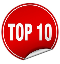 Top 10 round red sticker isolated on white vector