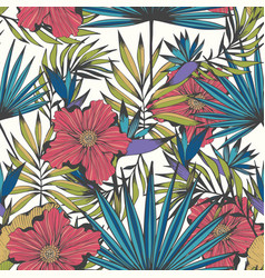 Tropics seamless hand drawn pattern for design vector