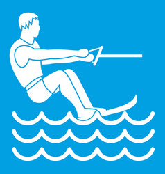 Water skiing man icon white vector