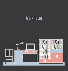 Work room interior design vector