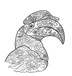 Line art for coloring of great hornbill bird on vector image
