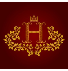 Patterned golden letter h monogram in vintage vector