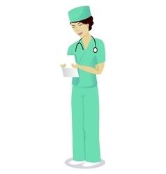 Woman doctor read disease history vector