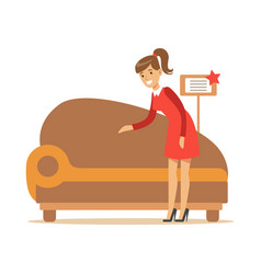 woman buying classy brown sofa smiling shopper in vector image