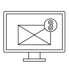 computer monitor with envelope icon outline style vector image