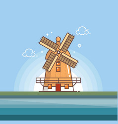 traditional old windmill building line vector image