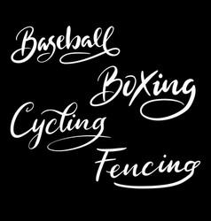 baseball sport hand written typography vector image
