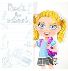 Cute schoolgirl hold big banner vector