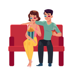 Couple seating in cinema movie theatre vector