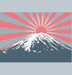 Fuji mountain with sun shine on peak vector