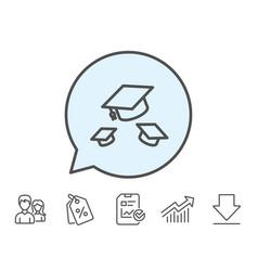 Graduation caps line icon education sign vector