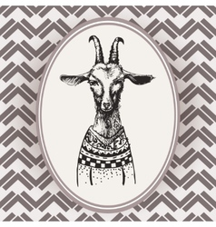 Vintage Hand Drawn Portrait goat vector image