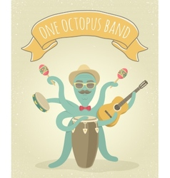 Latino octopus play music vector