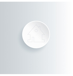 Round white web home page button with house icon vector