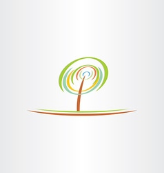 Stylized green tree eco symbol design vector