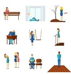 Lonely people flat icon set vector