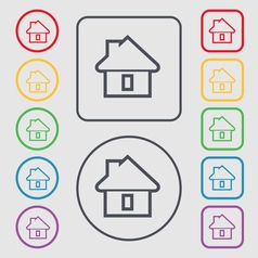 House icon sign symbol on the round and square vector