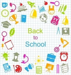 Kit of school colorful simple objects vector