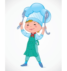 Baby cook with fork and spoon vector image