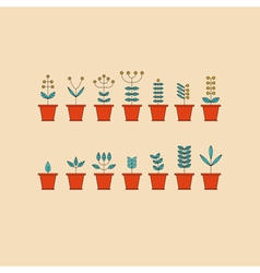 Set with Flowerpot Icons Nature Collection Eco vector image