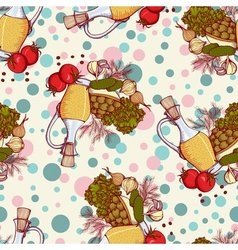 seamless pattern with vegetables and oil vector image