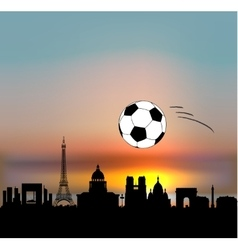 Paris skyline with football ball vector
