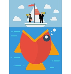 Big fish prepare to eat careless business people vector