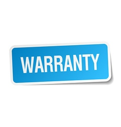 Warranty blue square sticker isolated on white vector