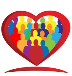 Diversity people heart vector image