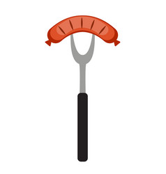 bbq icon with grill tools and sausage vector image