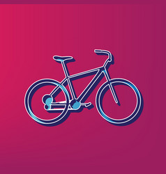 Bicycle bike sign blue 3d printed icon vector