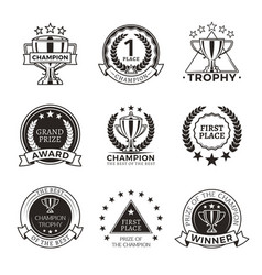 black and white champion trophies and medals set vector image